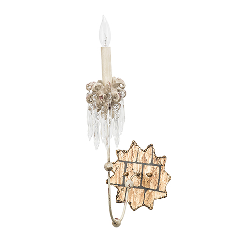 Venetian Hand-Painted Beige Patina One-Light Wall Sconce