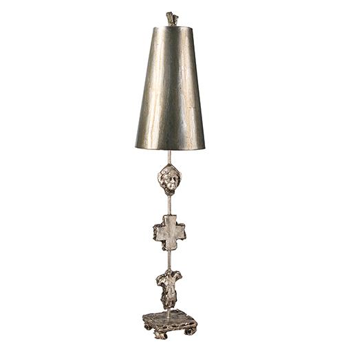 Flambeau Lighting Fragment Silver Leaf One-Light Table Lamp