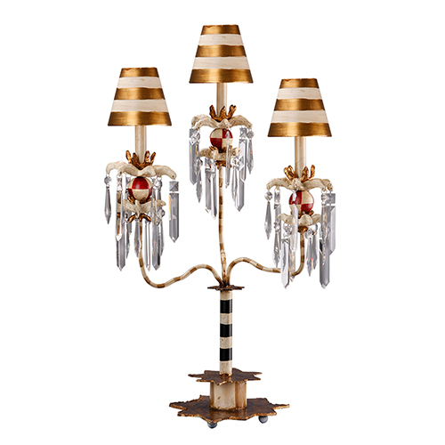 Birdland III Gold Striped One-Light Table Lamp