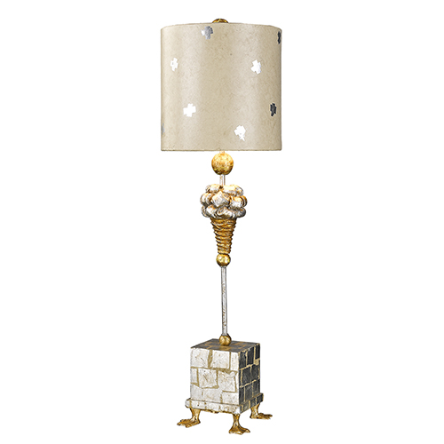 Pompadour X Gold and Silver Leaf One-Light Table Lamp