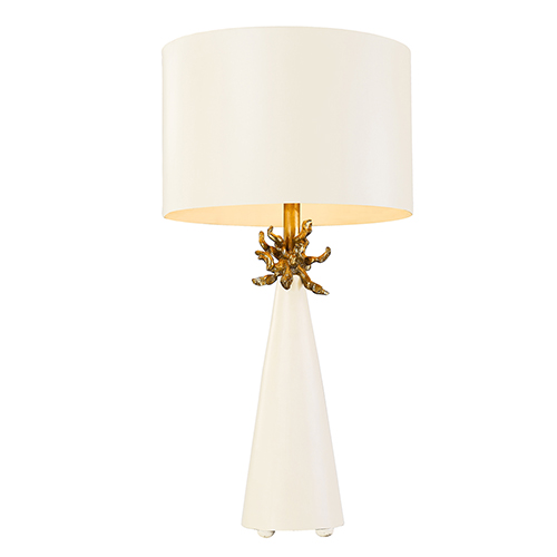 Neo French White And Gold Leaf One Light Table Lamp