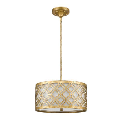Arabella Distressed Gold Two-Light 16-Inch Pendant
