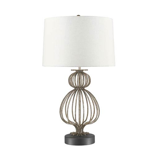 Lae Glazed Silver And Gunmetal Table Lamp