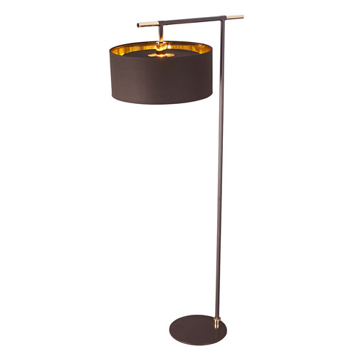 Balance Polished Brass and Brown One-Light Floor Lamp