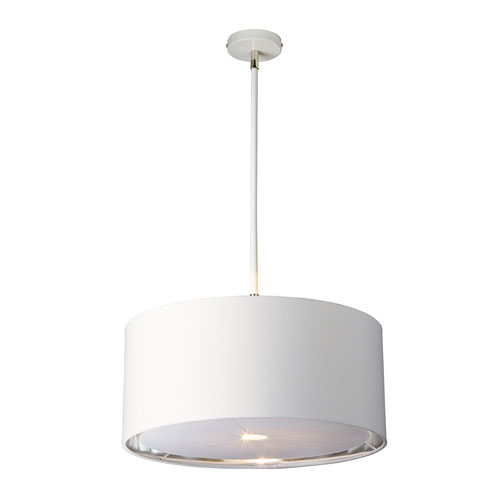 Balance Polished Nickel and White One-Light Pendant