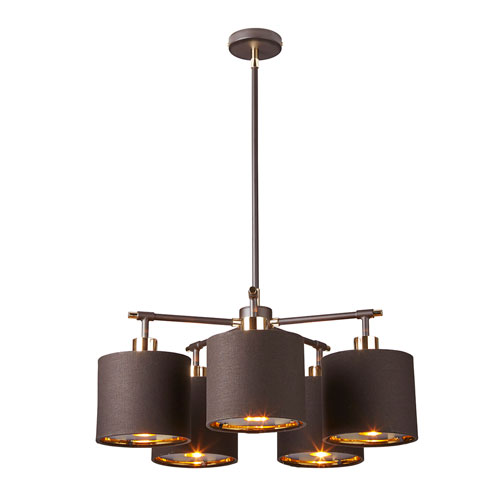 Balance Polished Brass and Brown Five-Light Chandelier