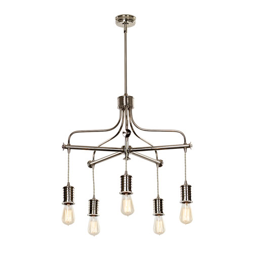 Douille Polished Nickel Five-Light Chandelier