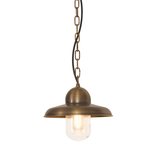 Somerton Aged Brass One-Light Outdoor Pendant