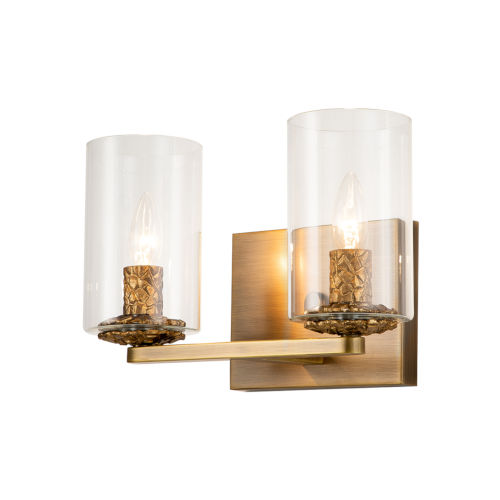Bolivar Antique Brass Two-Light Bath Vanity