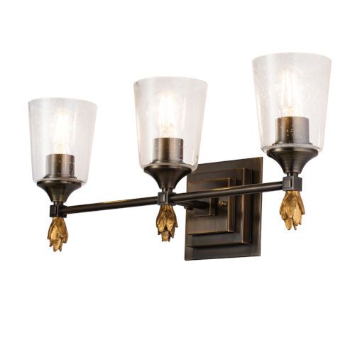 Vetiver Dark Bronze Gold Accent Three-Light Bath Vanity
