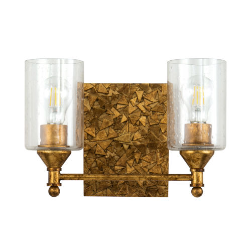 Mosaic Gold Leaf with Antique Two-Light Bath Vanity