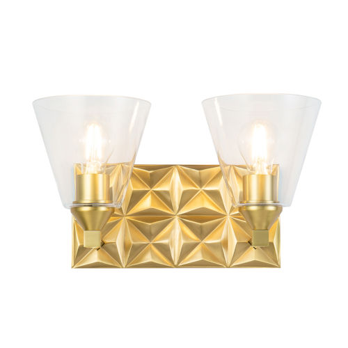 Alpha Antique Brass Two-Light Wall Sconce