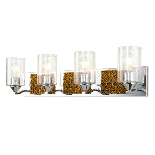 Arcadia Polished Chrome Bronze Four-Light Bath Vanity