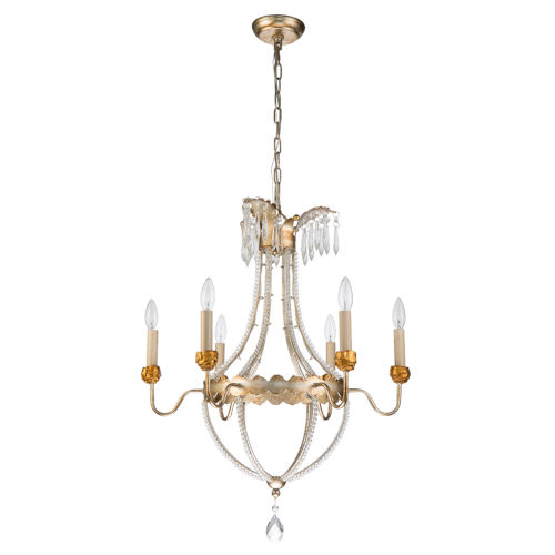 Lemuria Distressed Silver and Gold Six-Light Chandelier