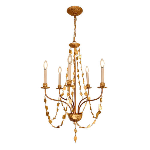 Mosaic Antique Gold Five-Light Chandelier