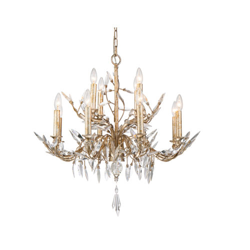 Alsace Silver with Antique Glaze 12-Light Chandelier