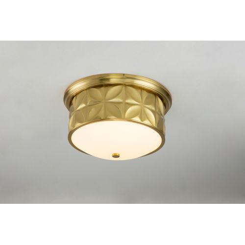 Epsilon Antique Brass Three-Light Flush Mount