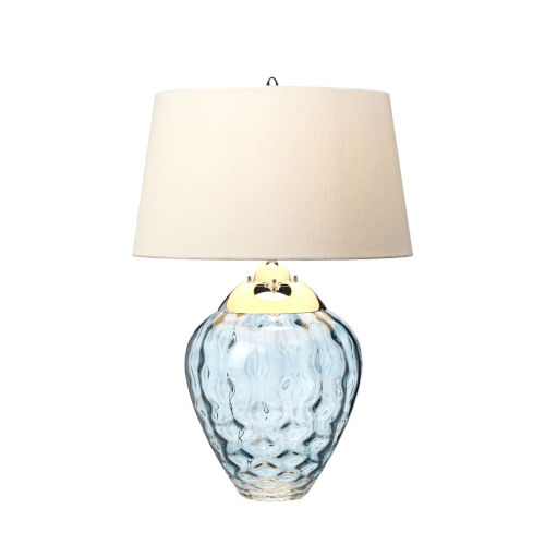 Samara Blue Tint and Polished Nickel One-Light Table Lamp