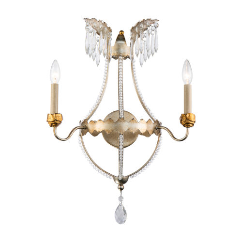 Louis Distressed Silver and Gold Two-Light Wall Sconce