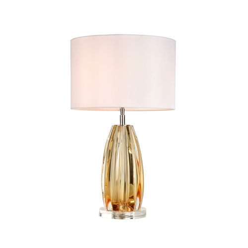 Cognac Clear and Amber One-Light Table Lamp