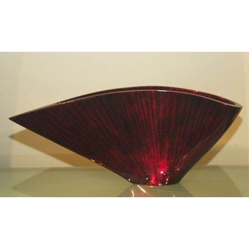 Curved Fan Vase Red Black