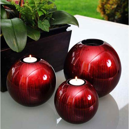 Red Black Round Candle Holders, Set of Three