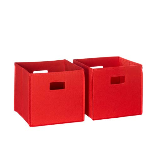 Red Two Piece Folding Storage Bins Set with Open Handles