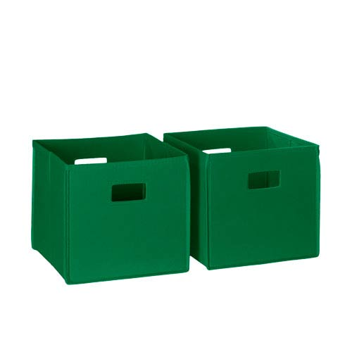 Green Two Piece Folding Storage Bins Set with Open Handles