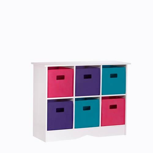 White Cabinet w/Six Bright Multicolor Bins