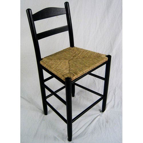 Dixie Seating Company Black Ladder Back Barstool 24-Inch