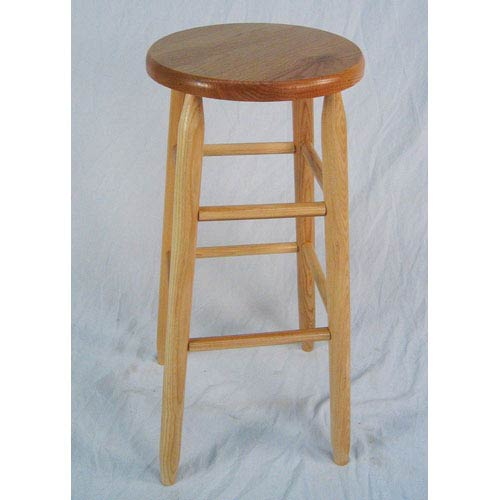 Natural Round Top Backless Barstool 30-Inch