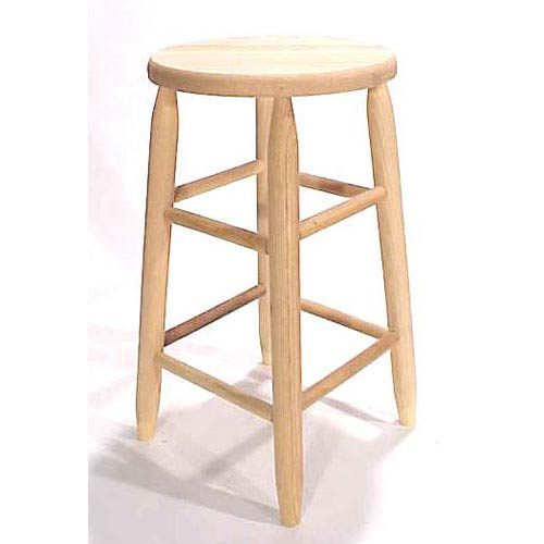 Unfinished Round Top Backless Barstool 30-Inch