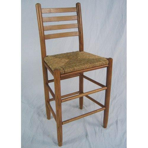 Dixie Seating Company Medium Oak Ladder Back Barstool 24 Inch