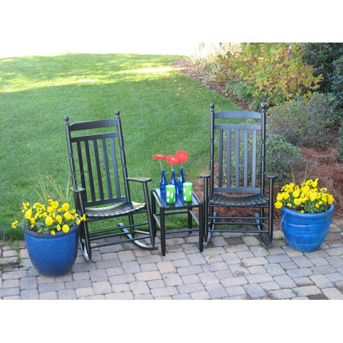 Dixie Seating Company Black Model 410 Rockers (Set of 2) with Table