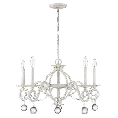 Callie Country White Five-Light Chandelier