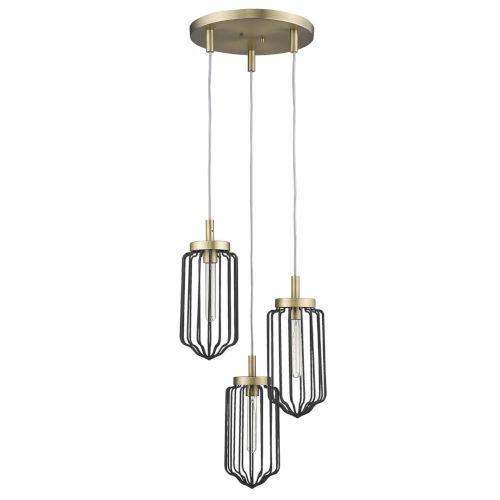 Reece Aged Brass Three-Light Chandelier
