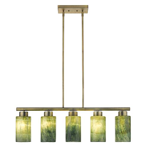 Monet Brass Five-Light Island Pendant