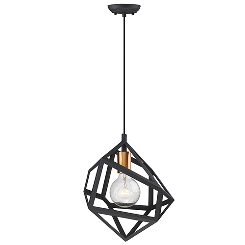 Hedron Matte Black One-Light Mini Pendant