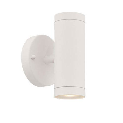 Textured White Two-Light LED Outdoor Wall Mount with Clear Glass