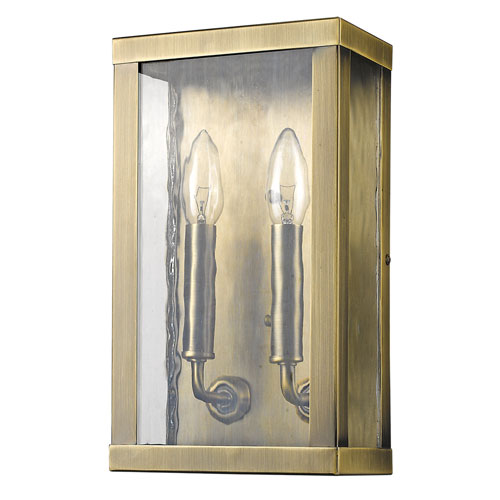 Charleston Antique Brass 7-Inch Two-Light Outdoor Wall Mount