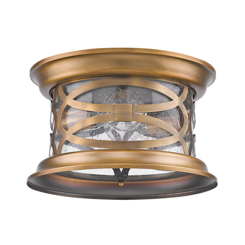 Lincoln Antique Brass 11-Inch Two-Light Outdoor Flush Mount