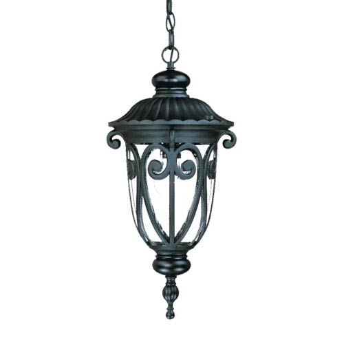 Naples Matte Black One-Light 20.5-Inch Outdoor Pendant