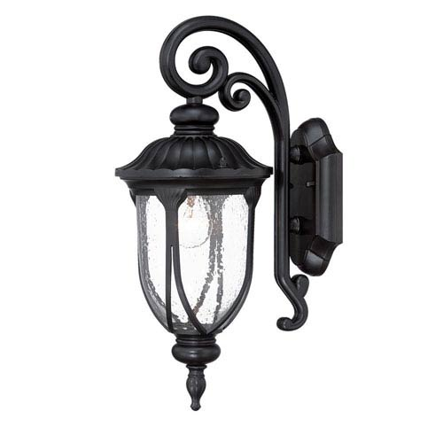 Laurens Matte Black 7-Inch One-Light Outdoor Wall Mount with Clear Seeded Glass