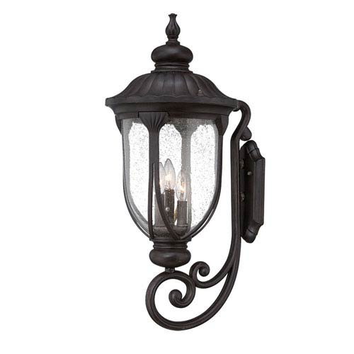 Laurens Black Coral 12-Inch Three-Light Outdoor Wall Mount with Clear Seeded Glass