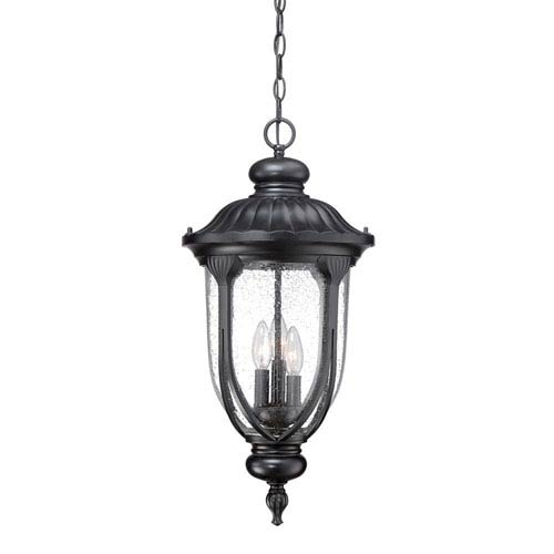 Laurens Matte Black Three-Light Outdoor Hanging Lantern with Clear Seeded Glass