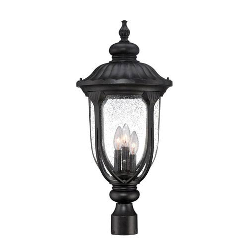 Laurens Matte Black Three-Light Outdoor Post Mount with Clear Seeded Glass