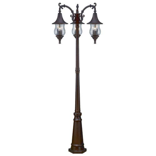 Del Rio Architectural Bronze Nine-Light Surface Mounted Lanterns and Post with Clear Melon Seeded Glass