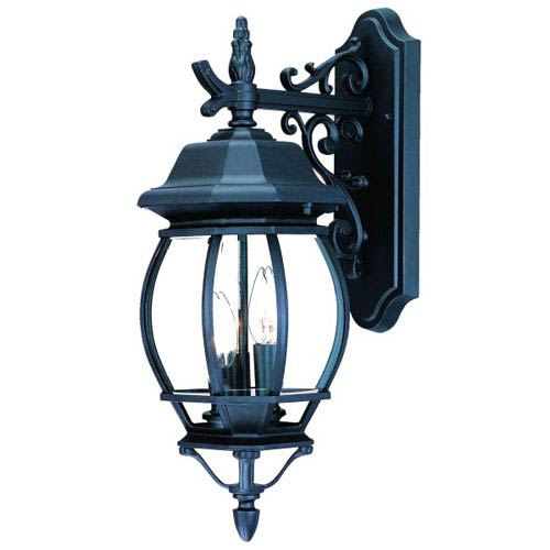 Chateau Matte Black Three-Light 21-Inch Outdoor Wall Mount