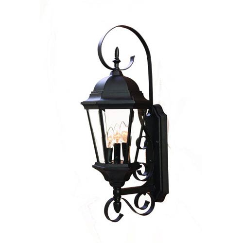 New Orleans Matte Black Three-Light 25-Inch Outdoor Wall Mount