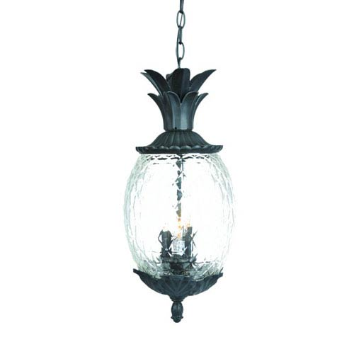 Lanai Matte Black Three-Light 21-Inch Outdoor Pendant